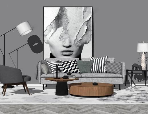 沙发组合, 多人沙发, 茶几, 落地灯, 边几, 台灯, 挂画, 现代