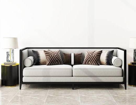 沙发组合, 双人沙发, 台灯, 圆几, 新中式