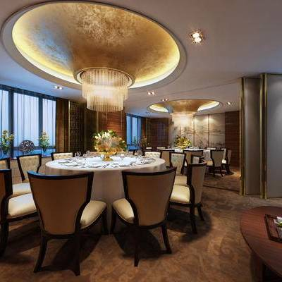 中式包间, 吊灯, 桌子, 椅子, 茶几, 壁画, 中式
