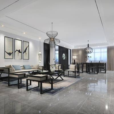 新中式客厅, 壁画, 吊灯, 桌子, 椅子, 边柜, 新中式沙发, 边几, 落地灯, 新中式