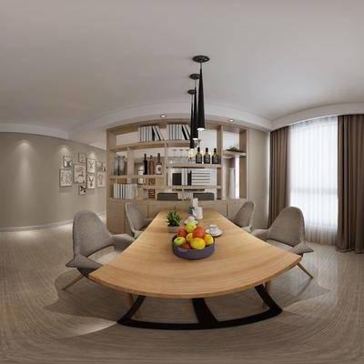 现代简约餐厅厨房, 现代桌椅组合, 果盘, 吊灯, 储物柜, 壁画, 相框, 橱柜, 厨具, 现代简约