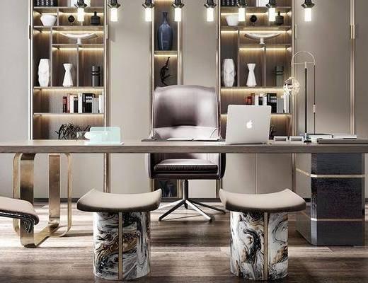 书房, 书桌, 桌椅组合, 吊灯, 书柜