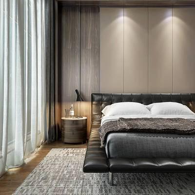 床具组合, 双人床, 床头柜, 台灯, 地毯, 后现代