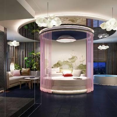 现代客房, 吊灯, 双人床, 壁画, 多人沙发, 茶几, 椅子, 桌子, 现代