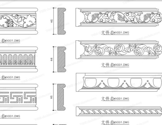 CAD, 模塊, 節點, 大樣, 平面圖, 家裝, 雕花, 木線