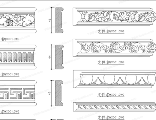 CAD, 模块, 节点, 大样, 平面图, 家装, 雕花, 木线