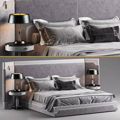现代床具组合, 现代, 床, 床品, 台灯, 床头柜