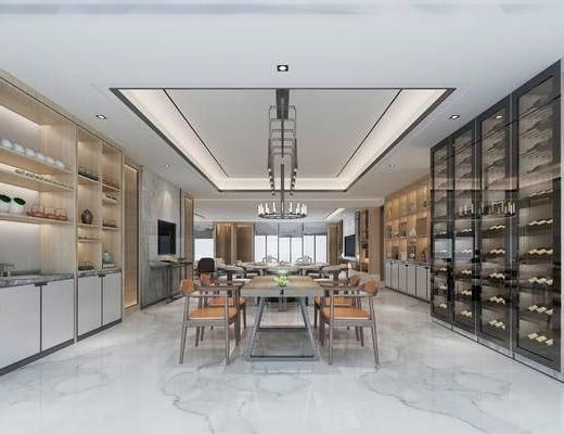 新中式客餐厅, 桌子, 椅子, 吊灯, 置物柜, 新中式