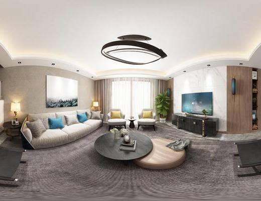 现代客餐厅, 吊灯, 多人沙发, 茶几, 电视柜, 边几, 台灯, 壁画, 桌子, 椅子, 置物柜, 现代