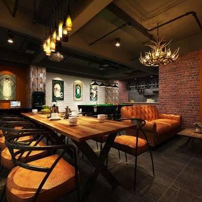 现代咖啡厅, 吊灯, 桌子, 椅子, 壁画, 现代