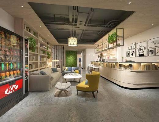 北欧珈啡厅, 北欧沙发茶几组合, 多人沙发, 单人沙发, 吊灯, 吧台, 储物柜, 壁画, 吧椅, 台灯, 相框, 北欧
