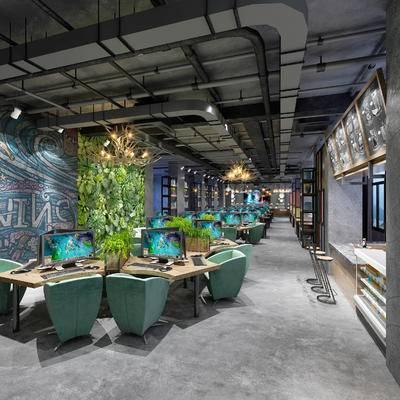 网吧, 吧椅, 吧台, 吊灯, 壁画, 桌子, 椅子, 电脑, 现代