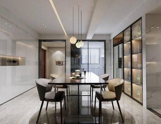 现代, 厨房, 客厅, 吊灯, 餐桌, 椅子, 置物架, 1000套空间酷赠送模型