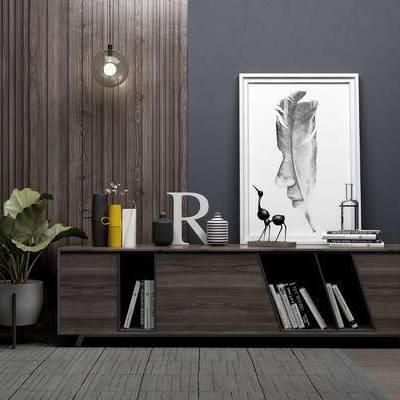 电视柜, 吊灯, 相框, 盆栽, 现代