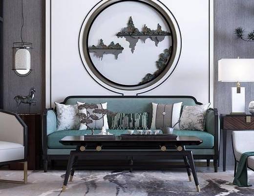 现代桌椅组合, 双人沙发, 沙发椅, 茶几, 盆栽, 现代
