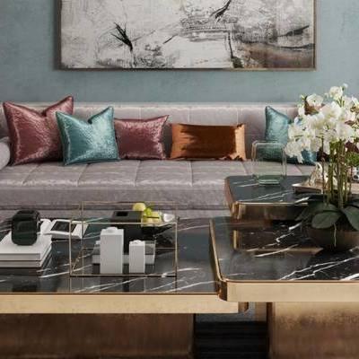 现代客厅, 多人沙发, 椅子, 茶几, 边几, 壁画, 台灯, 盆栽, 现代