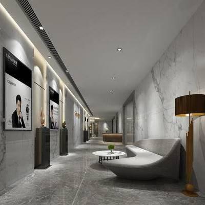 走廊过道, 落地灯, 茶几, 多人沙发, 现代