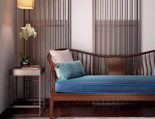 新中式, 椅子, 屏风, 壁灯