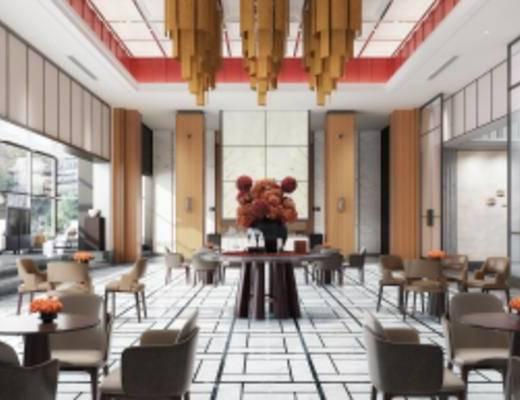 新中式售楼销售中心, 桌椅组合, 吊灯, 壁画, 地毯, 多人沙发, 花瓶, 新中式