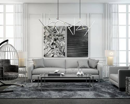 现代, 沙发, 茶几, 吊灯, 吊椅, 台灯, 挂画, 茶具