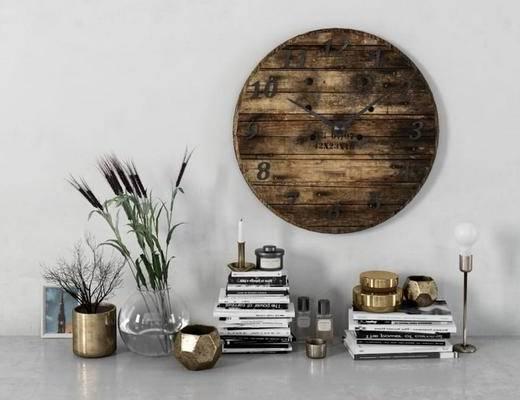 美式, 工业风, 后现代, 墙饰, 书本, 花瓶