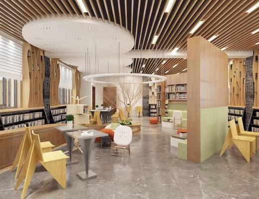 现代, 图书馆, 桌子, 椅子, 吊灯, 书籍