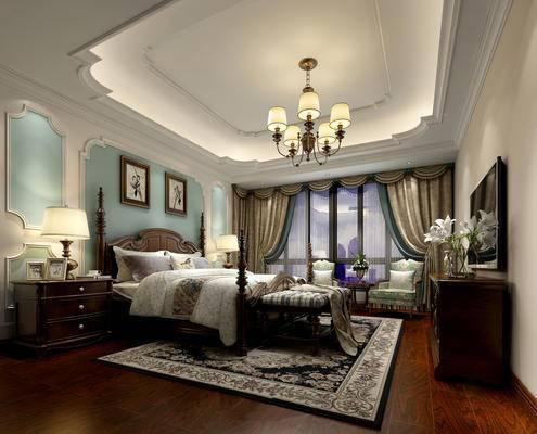 美式简约, 卧室, 吊灯, 床具组合, 床头柜