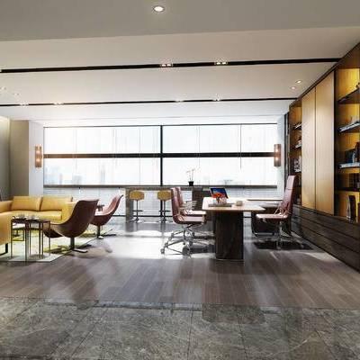 现代办公室, 桌子, 椅子, 盆栽, 壁画, 置物柜, 现代