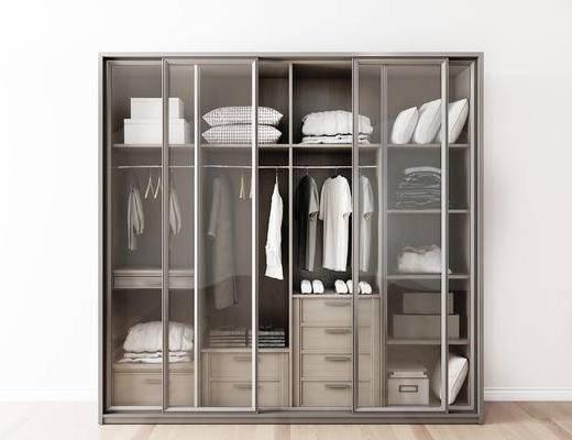 摆件组合, 衣柜, 衣物, 现代