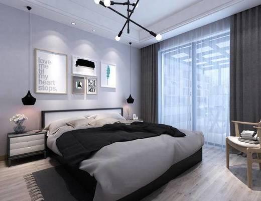 北欧, 卧室, 吊灯, 床, 挂画, 床头柜, 台灯, 窗帘, 地毯, 下得乐3888套模型合辑