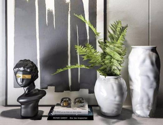 现代, 花瓶, 雕塑, 挂画, 植物