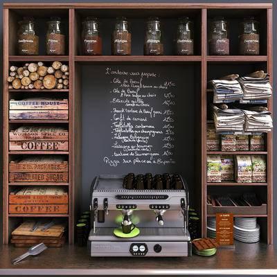 储物架, 碟子, 咖啡机, 咖啡杯, 勺子, 袋装咖啡豆, 美式