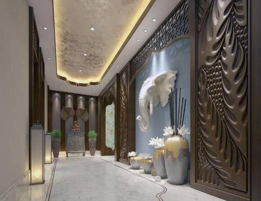 走廊过道, 边柜, 花瓶, 落地灯, 东南亚