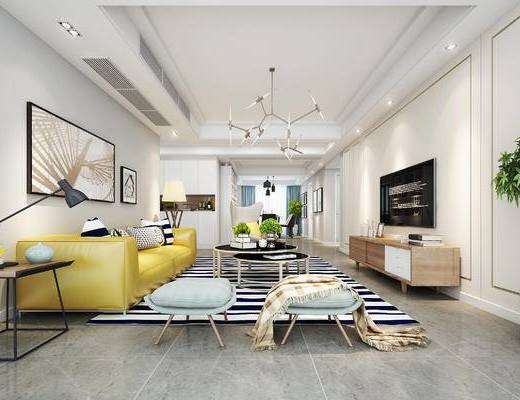 现代客厅, 壁画, 多人沙发, 茶几, 边几, 台灯, 电视柜, 沙发凳, 吊灯, 盆栽, 现代