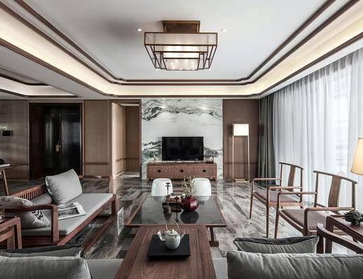 新中式客厅, 多人沙发, 椅子, 茶几, 电视柜, 落地灯, 壁画, 凳子, 新中式