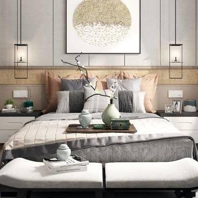 新中式卧室, 双人床, 床尾凳, 床头柜, 吊灯, 挂画, 衣柜, 新中式