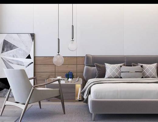 现代卧室, 双人沙发, 单椅, 挂画, 床头柜, 现代