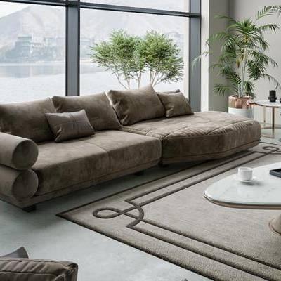 现代, 沙发, 茶几