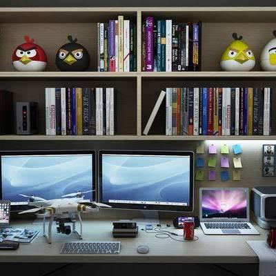 桌子, 置物柜, 电脑, 玩具, 现代