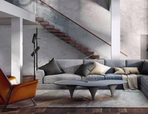 现代简约, 沙发茶几组合, 落地灯, 现代