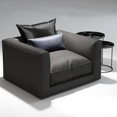 现代, 边几, 黑色, 沙发, 靠枕, 单人沙发