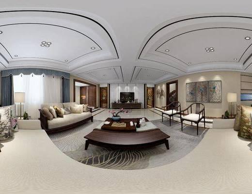 新中式客餐厅, 新中式沙发茶几组合, 茶几, 壁画, 多人沙发, 单人沙发椅, 相框, 储物柜, 落地灯, 台灯, 花瓶, 茶具, 新中式