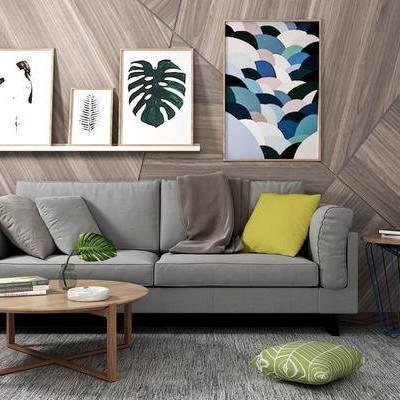 双人沙发, 壁画, 置物架, 茶几, 边几, 现代