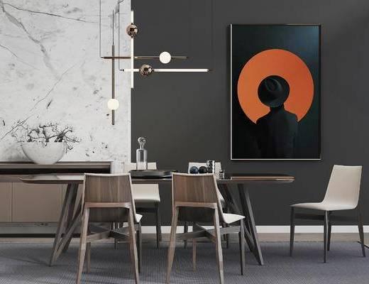 餐桌椅组合, 餐桌, 椅子, 壁画, 吊灯, 置物柜, 现代