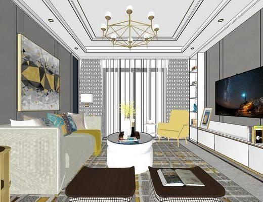 美式客厅, 美式餐厅, 客厅餐厅, 沙发组合