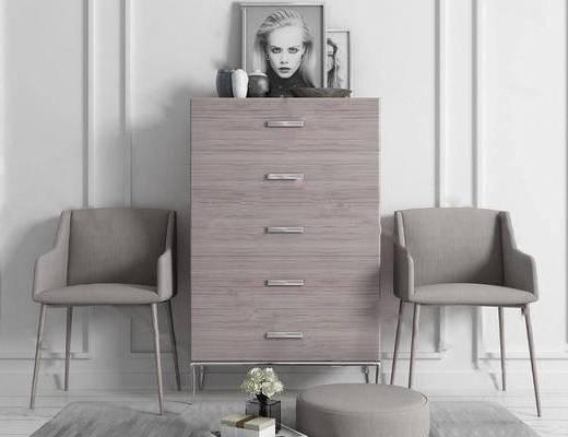 北欧简约, 柜子, 椅子, 陈设品组合
