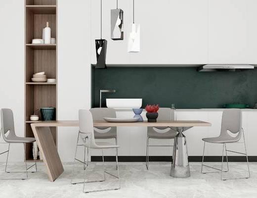 现代桌椅组合, 餐桌, 单椅, 现代