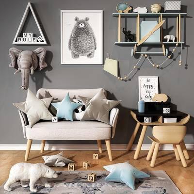 沙发, 桌子, 椅子, 玩具, 储物架, 枕头, 地毯, 积木, 画框, 北欧