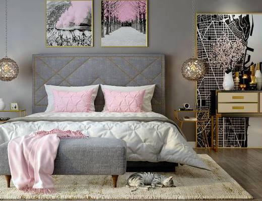 床具组合, 壁画, 双人床, 边柜, 边几, 台灯, 吊灯, 床尾塌, 北欧