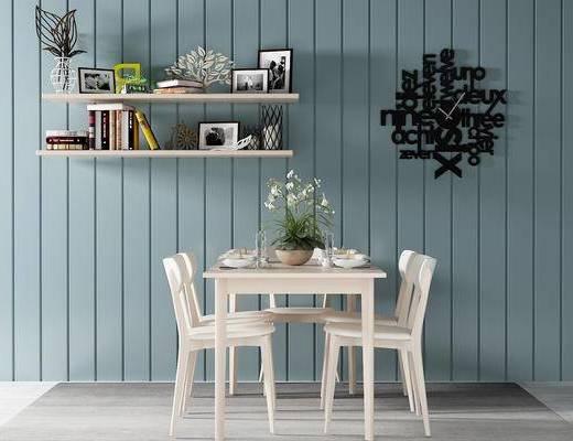 单椅, 桌子, 置物架, 时钟, 北欧